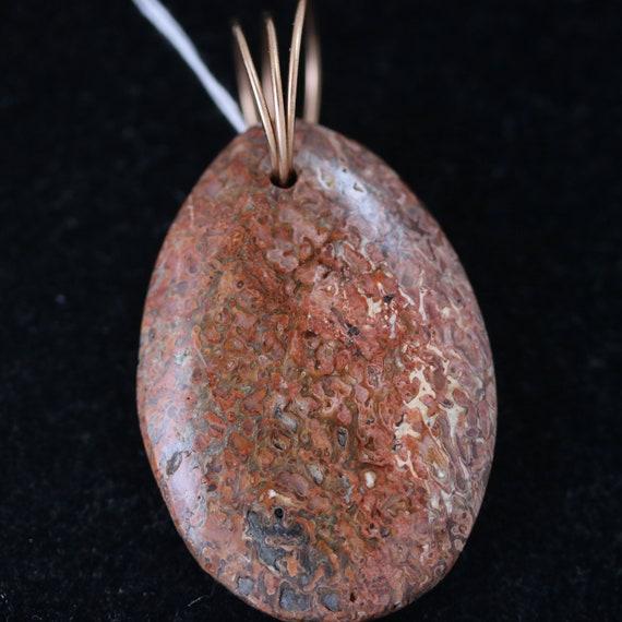 Dinosaur Bone Pendant, brown tan, Bronze Twirl Bail, 62ct