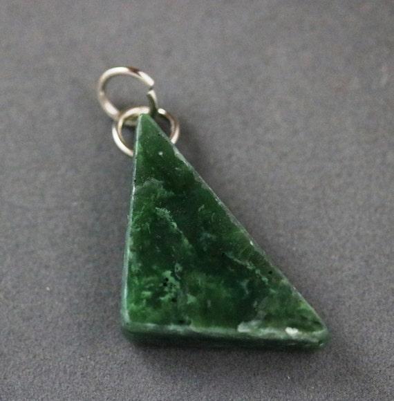 Jade pendant, Jade Cove California, green triangle, nickel jumps bail 50ct