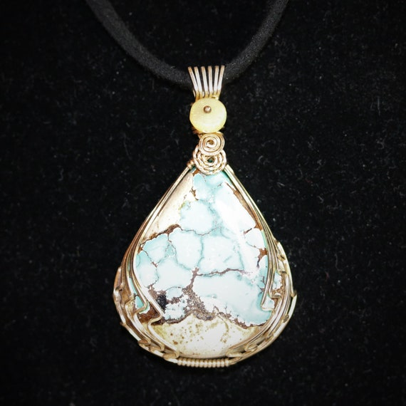 Natural Royston Turquoise pendant Opal bead, gold wire wrap 50ct