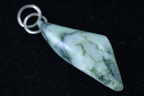 Jade Pendant, dark green light green, nickel jumps bail 58ct
