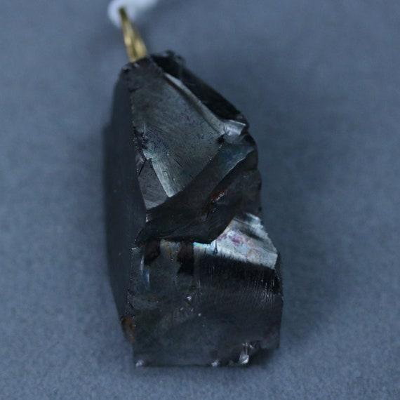 Shungite, Noble, Elite, pendant, black silvery, brass bail 26.5ct