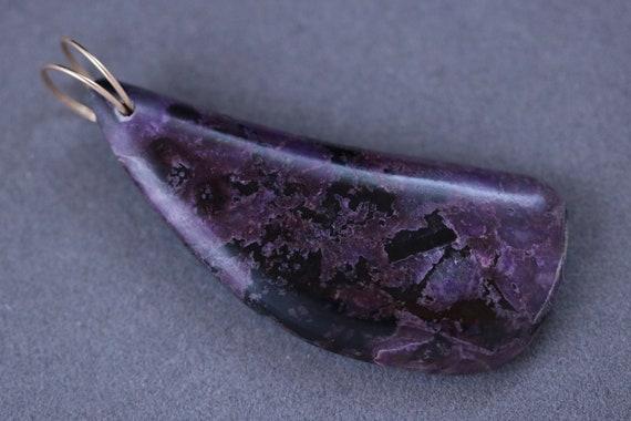 Sugilite pendant, purple black, gold twirl bail 47ct