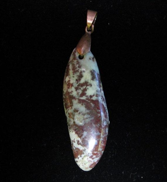 Copper Minerals Pendant, brown coppery green, copper bail 53ct