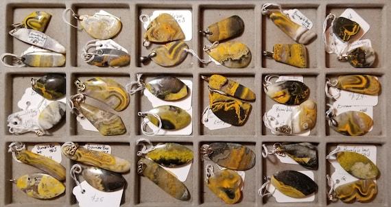 Bumblebee Jasper, 37 pendants, orange yellow black white, 25 to 55ct