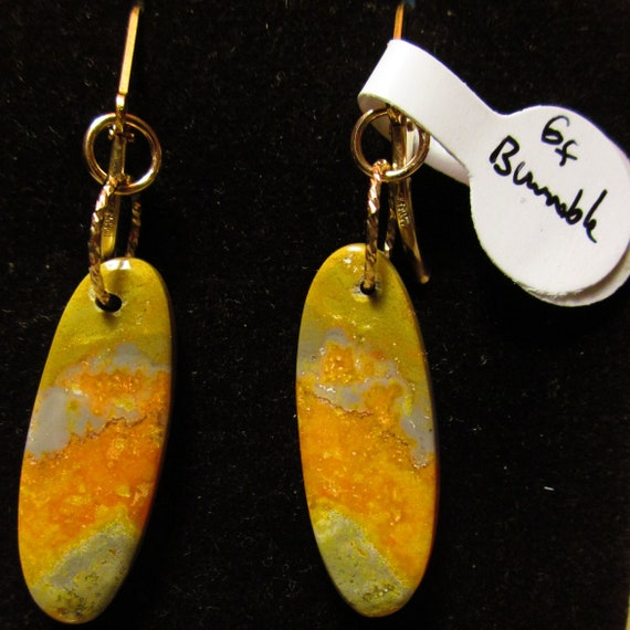 Earrings J, Bumblebee Jasper, orange gray, gold lever backs
