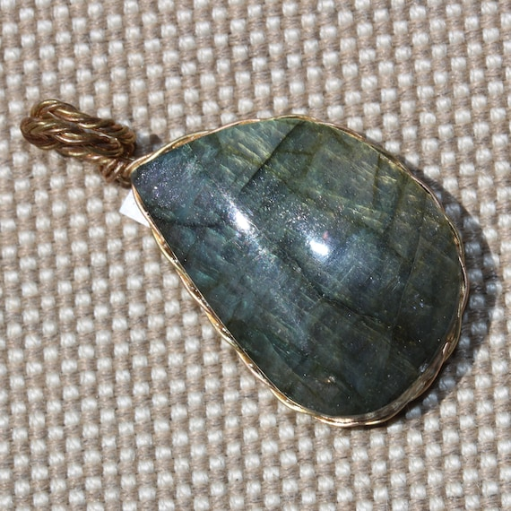 Labradorite pendant, copper twisted wire wrap, 48ct