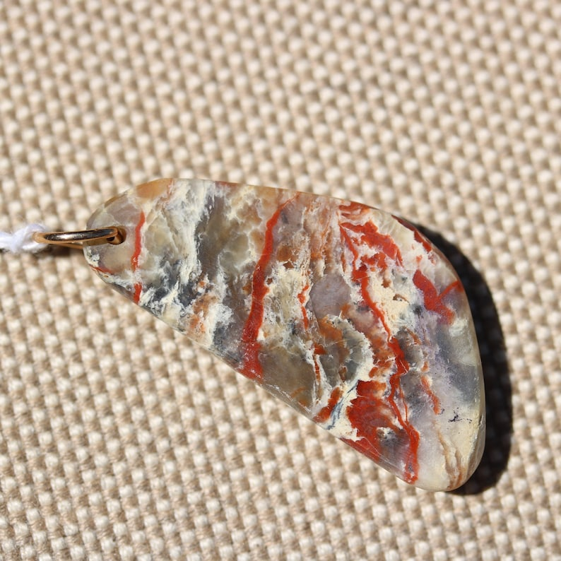 Natural Coprolite Pendant red-brown tan gray bronze jump bail 49ct; Fossilized Dinosaur Dung