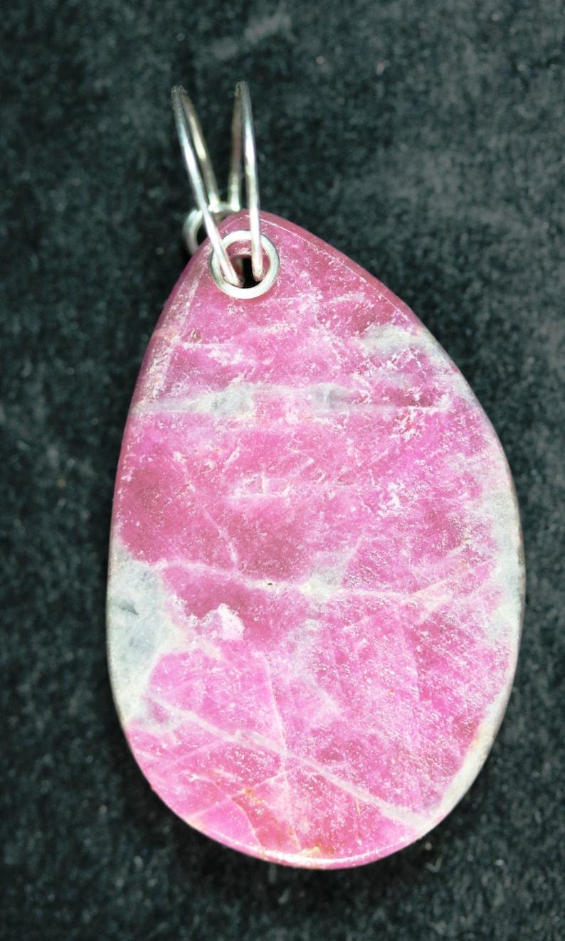 pink gray Sapphire in Feldspar pendant silver twirl bail 67ct