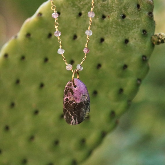 "Purple Stichtite Pendant necklace on genuine Gold Rose Quartz  18""  chain"