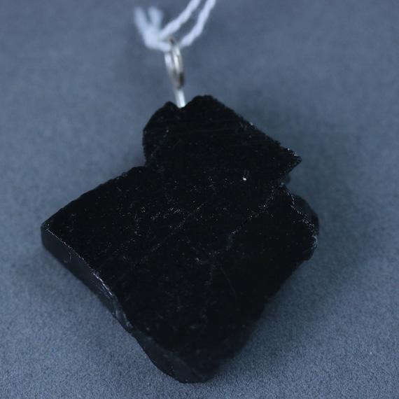Shungite pendant, black silvery, silver bail 38ct