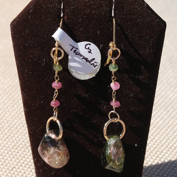 Tourmaline Earrings, beads 3, Pink green, Gold lever backs 3