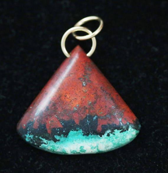 Sonoran Sunrise pendant, red black aqua, gold jumps bail 75ct