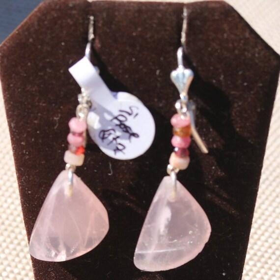 Earrings Rose Quartz, 5 beads, silver lever backs