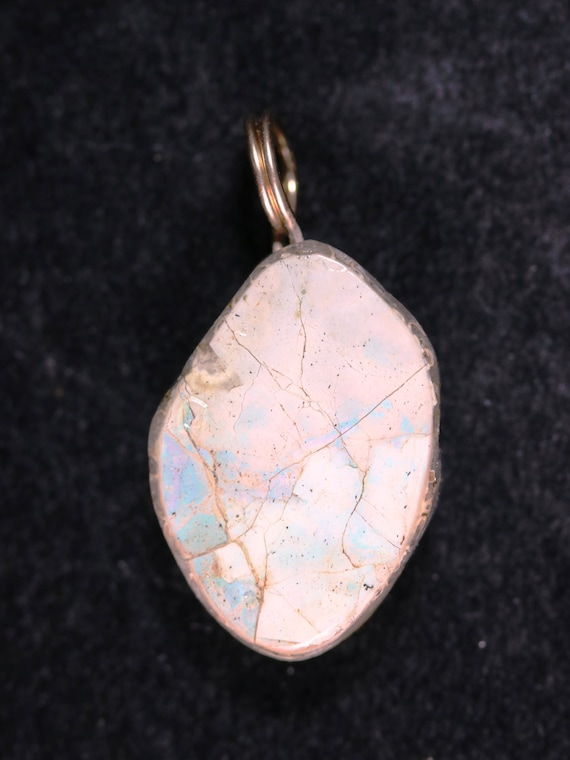 Opalized Ammolite pendant silver twirl bail 26ct
