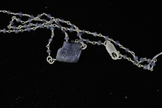 Tanzanite pendant, on Iolite beaded Necklace silver chain lobster clasp