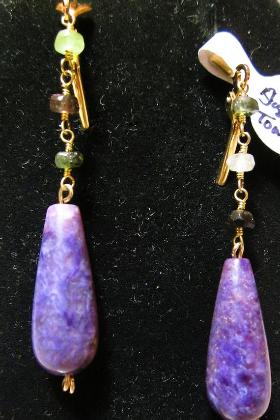 Earrings J, Sugilite Tourmaline beads2, gold lever backs
