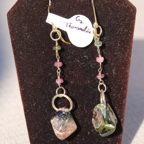 Tourmaline Earrings, beads 3, Pink green, Gold lever backs 2