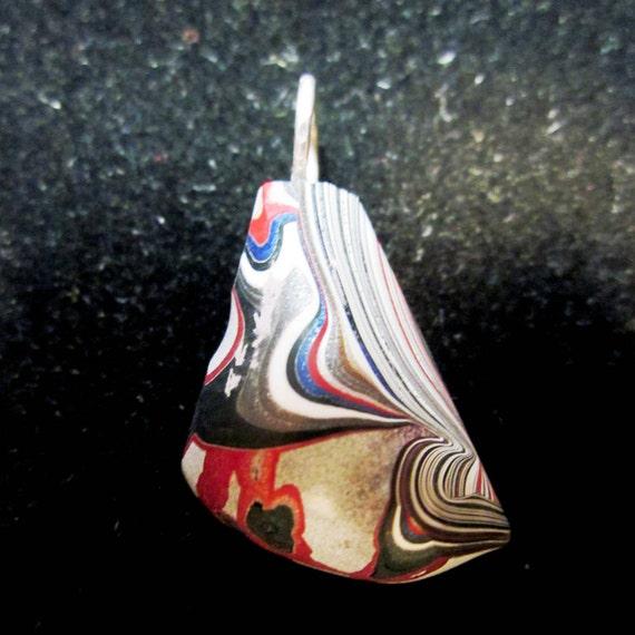 Vintage Fordite pendant, Detroit Agate, red white black blue, silver bail 14ct