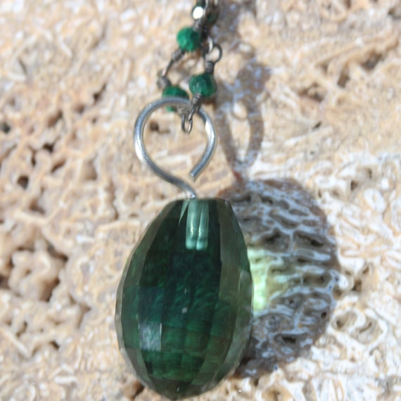"""Pariaba Tourmaline pendant 20ct, 18"""" anodized beaded chain, lobster clasp"""