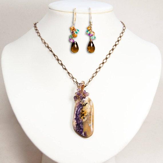 Earrings SJ pendant and bronze chain