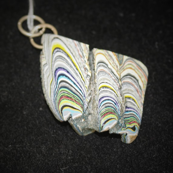 """Fordite pendant, yellow orange white gray black, """"Twice Upon a Time"""", silver jumps  bail 23.5ct"""