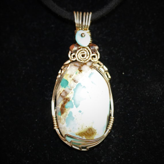Natural Royston Turquoise pendant 3 faceted beads, gold wire wrap 31.5ct