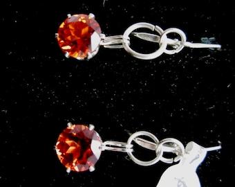 Earrings J, Padparadsha Sapphire, silver leverbacks 15ct