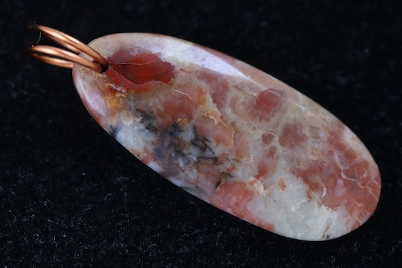 Coprolite pendant, rusty red tan black, bronze twirl bail 25ct