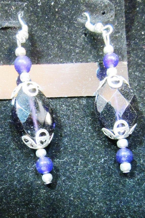 Earrings purple beads, sterling silver (26)
