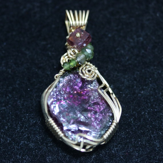 Tourmaline pendant with 4 beads gold wire wrap 23.5ct