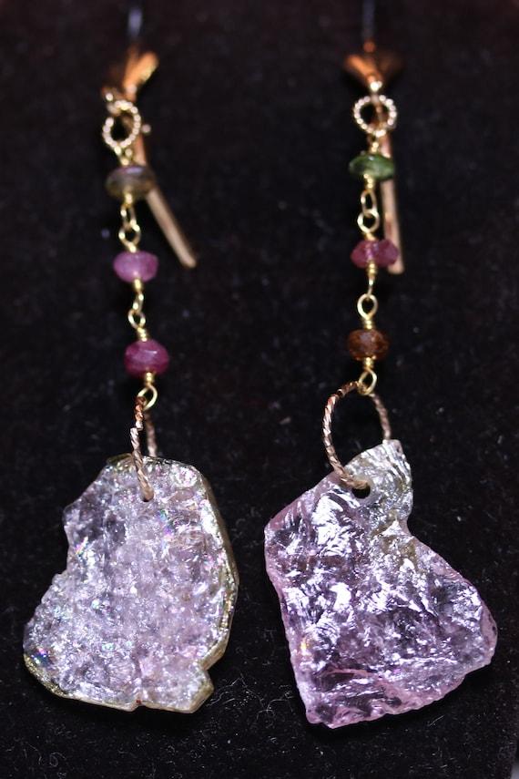 Tourmaline Earrings J 3, lavender pink, Gold lever backs