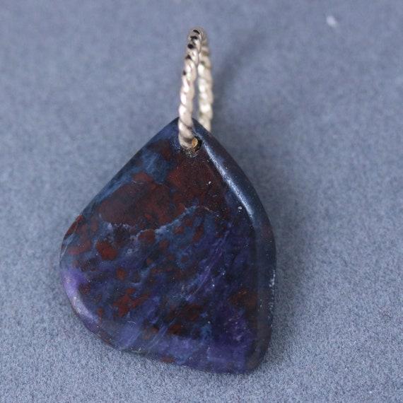 Sugilite pendant, purple reddish, gold twisted jump bail 9.5ct