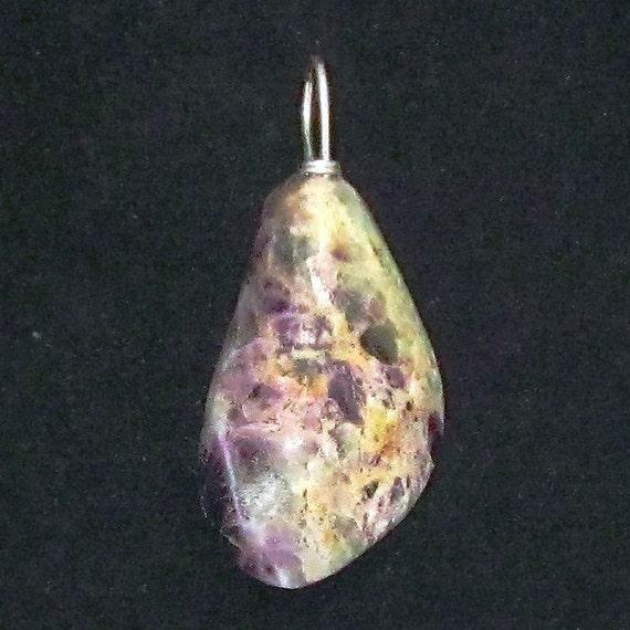 Fluorite Pendant, violet green cream, silver bail 59ct