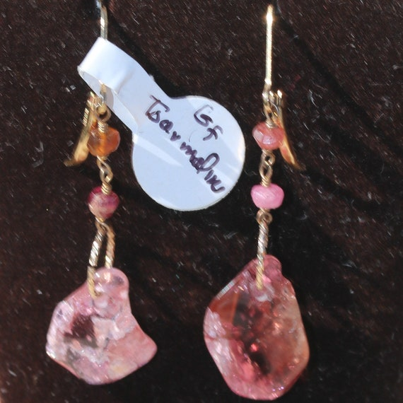Tourmaline Earrings, red pink, Gold lever backs