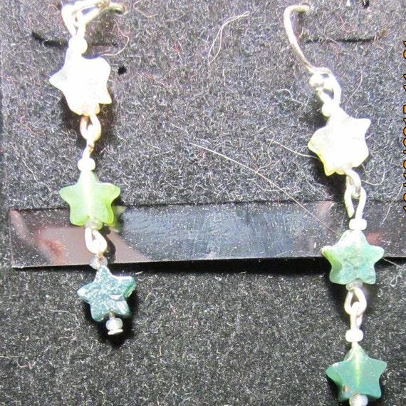 Earrings silver star beads, sterling silver (1113)