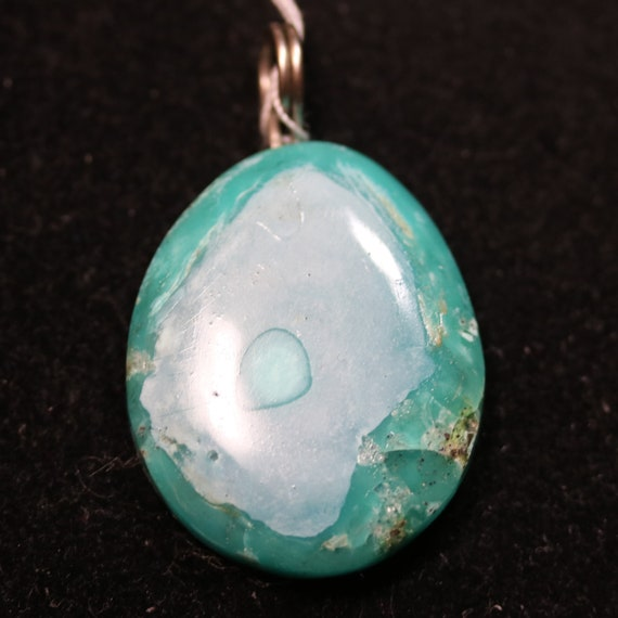 Turquoise Pendant, blue green gray, silver twirl bail, 52ct