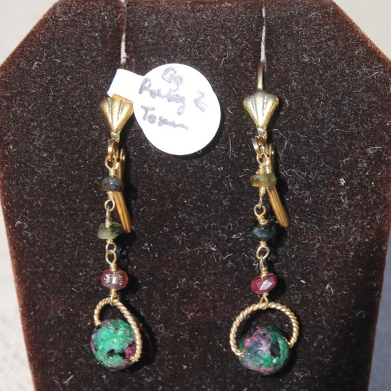 Ruby Zoisite Earrings, Tourmaline beads 3, gold lever backs
