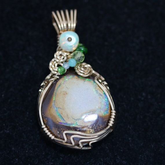 Opal Pendant, with 6 beads, gold wire wrap 23.5ct