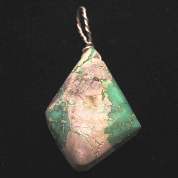 "Variscite, Utahite, pendant, green white, ""Diamonds are Forever"", silver wire 40ct"