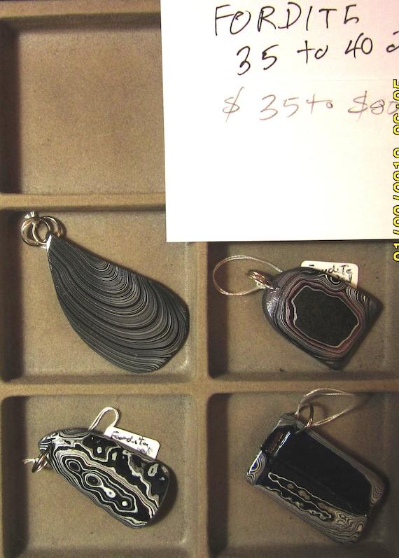 """Fordite pendants, """"Detroit Agate"""", Tray 9, 4 pendants"""