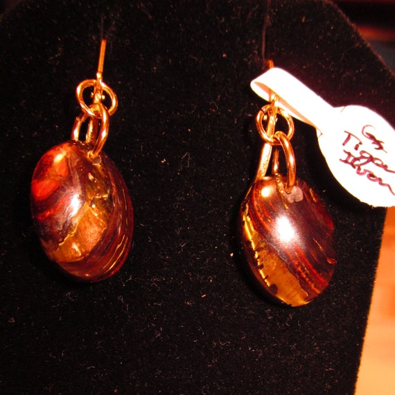 Earrings J, Tiger Iron, brown rusty red, Gold filled lever backs