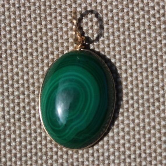 Malachite pendant, light dark green, gold wire wrap bail 58ct