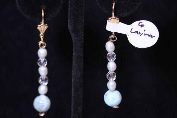 Earrings J, Larimar Mother of Pearl Swarofsky beads, gold lever backs