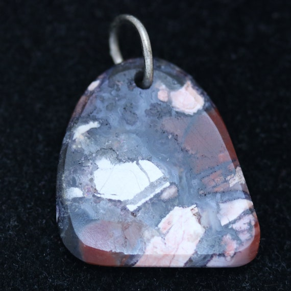 Tiffany Stone pendant, purple maroon pink white, nickel jump bail 29ct