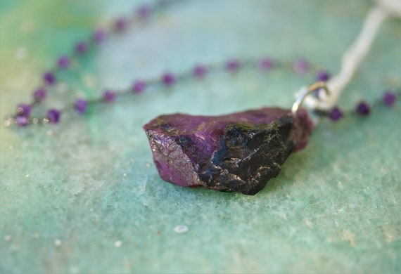 "Old Stock Sugilite Pendant, purple black, Necklace on Anodized silver beaded Amethyst 18"" chain"