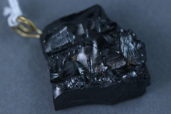 Shungite pendant, Noble Elite, black silvery, brass twirl bail, 55ct