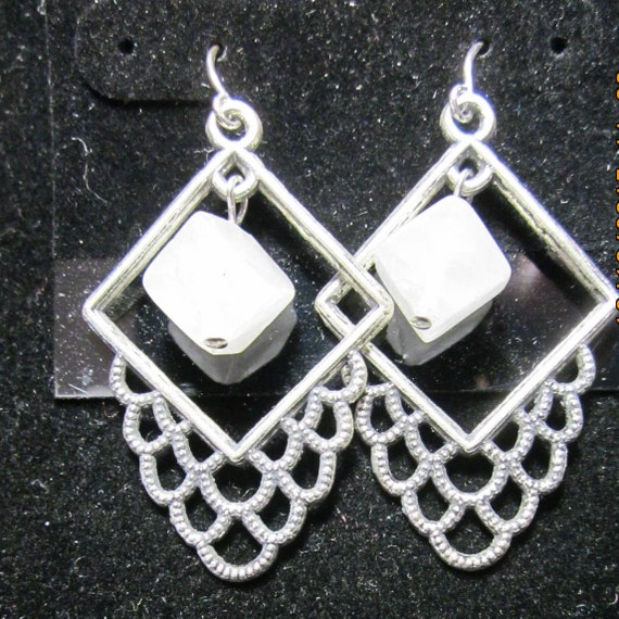 Earrings silver square crystals beads, sterling silver (10)
