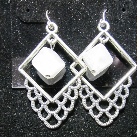 Earrings Jen 10 silver square crystals beads, sterling silver