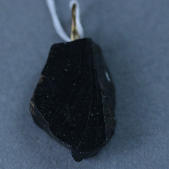 Shungite pendant, black silvery, brass bail 24ct