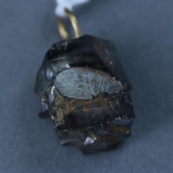 Shungite pendant, Elite Noble, black silvery brown, brass bail 22ct